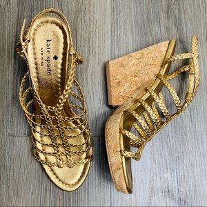 Kate Spade Gold Cork Wedge Heels